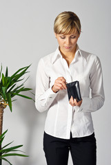 Beautiful Business Lady with a wallet