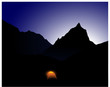 Camp mit der Kullisse des Mount Everest