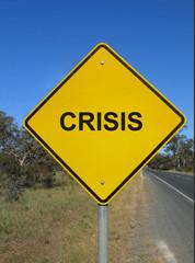 Crisis road sign