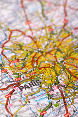 Paris Map Detail; selective focus