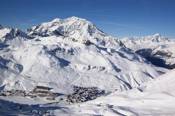 winter mountain landscape with resort village