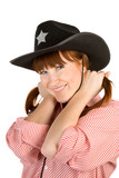 Red haired girl in cowboy hat