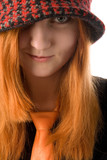 Red haired girl in hat