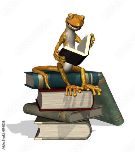 Reading Gecko - 3D render