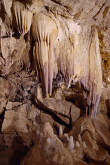 background with stalagmites in grotto