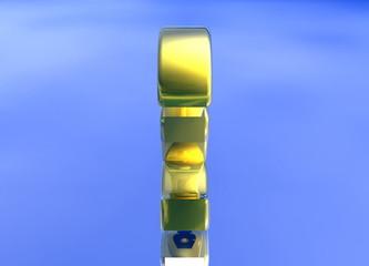Gold British Pound Sterling Symbol Spinning on Blue
