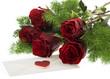rote Rosen mit Liebesbrief