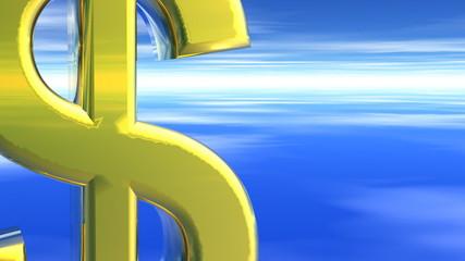 USD American Dollar Gold Symbol Rising Towards Camera