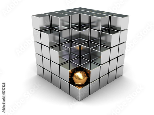 cube and golden ball
