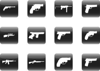 Guns. Set of 12 vector for web