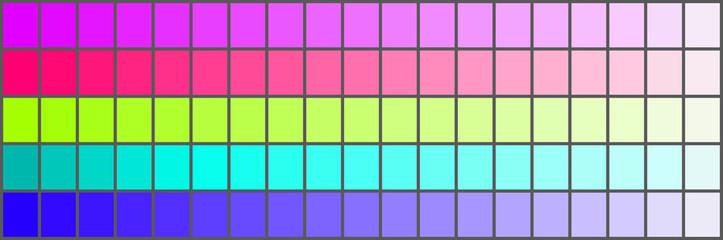Colour palette with a range of colors