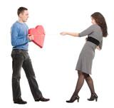 woman stealing mans heart poster