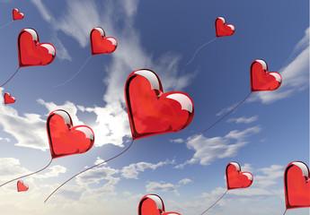 Hearts love ballons