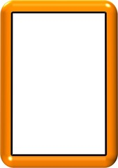 3D Orange Plastic Photoframe - With Isolated Clipping Path