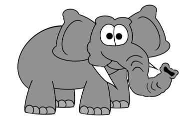 Elephant Cartoon - Isolated On White