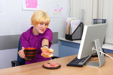 tasteless fast food in office