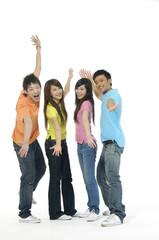 happy Asian friends