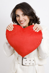 Young Woman with big red heart