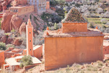 Mausoleum and mosque in Atlas Mountains poster