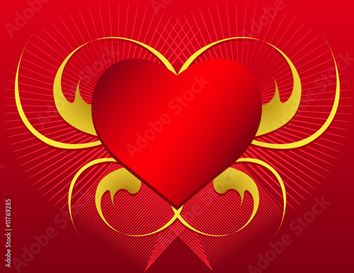 Vector Heart Shape with swirls