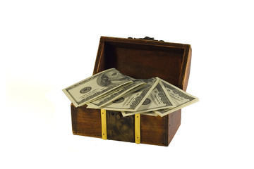 full of dollars chest isolated on white