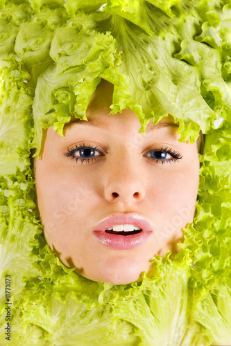 Portrait of pretty woman in salad