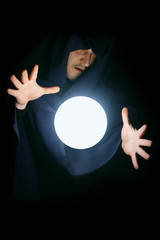 Wizard with magical sphere