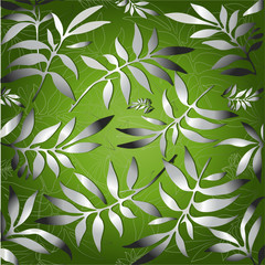 Green background for design from silver leaves (vector)