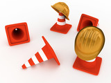 Hardhat and cones poster