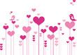Heart flowers with lovebirds
