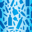 roleta: Seamless blue pattern with flying cosmetic bottles and bubbles