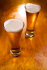 Beer glasses, selective focus