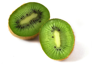 kiwi two half isolated on white backgroun