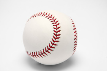 White baseball ball on a white background