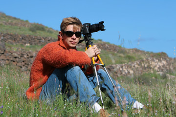 Attractive photographer with camera