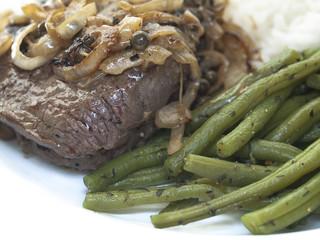 Steak  mit Bohnen