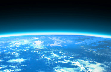 light blue world globe and space