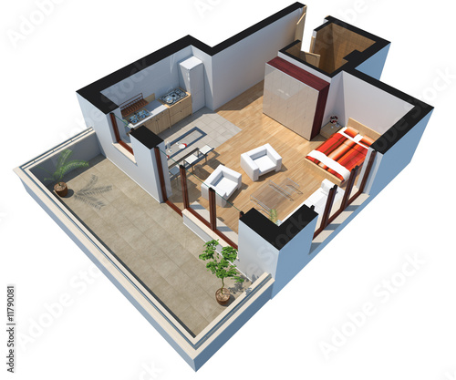 3D sectioned apartment with furniture and clipping path