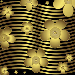 Black and golden  floral background