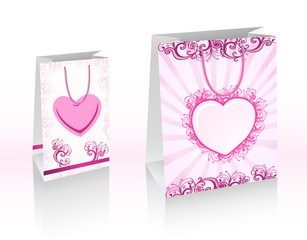 Purple shopping bags with hearts