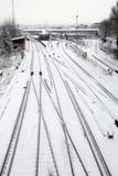Snowfall on railway poster