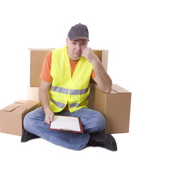 sitting sad delivery men  in reflective waistcoat and cap