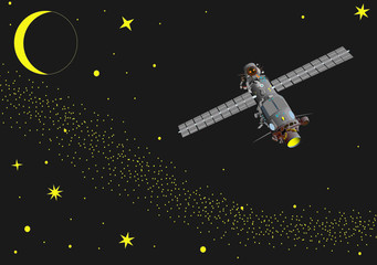 vector -  illustration of satellite at  space