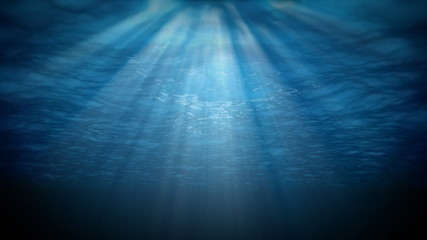 Underwater,sunbeams shining through water's surface,loop