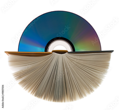 A book  and compact disk on white.