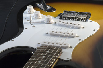Closeup of electric guitar