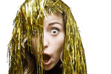 Surprised blonde in tinsel wig on white background poster