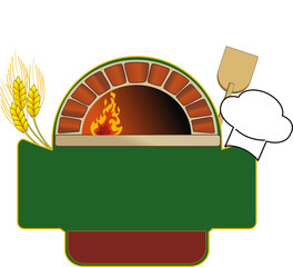 vector illustration of firewood oven with shovel and grain