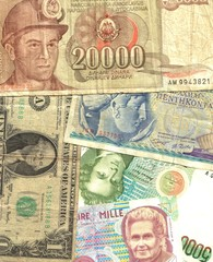 old banknotes off course background