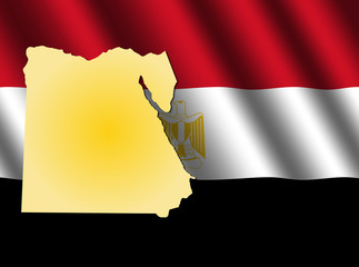 Egypt map on rippled flag